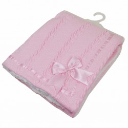 Knitted Blanket with Bow